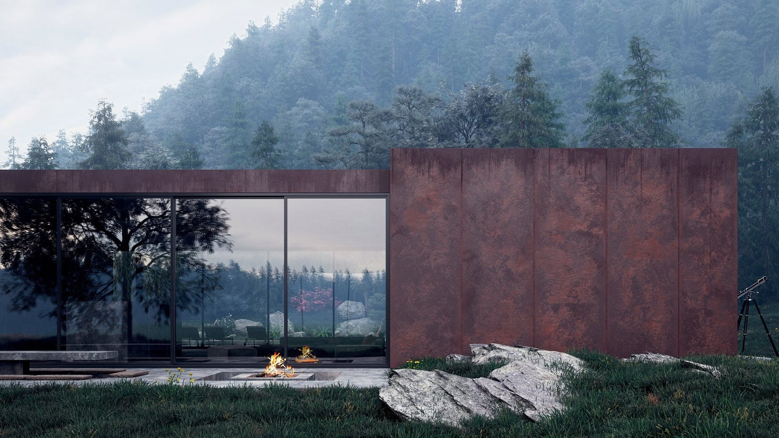 A fireplace and large outdoor patio sit opposite the pool and inner atrium and creates a warm gathering place for visitors. Tagged: Concrete Patio, Porch, Deck and Outdoor.  Studio from Rose House Blooms in Ukraine's Carpathian Mountains
