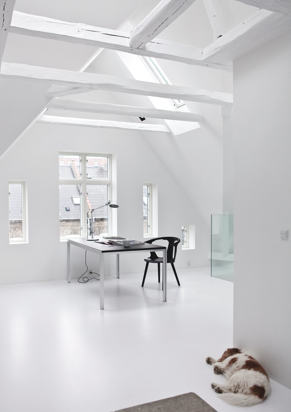 Attic workspace. Copenhagen Townhouse II by Norm.Architects. © Jonas Bjerre-Poulsen.  Modern Danish Homes We Love from Studies and workspaces