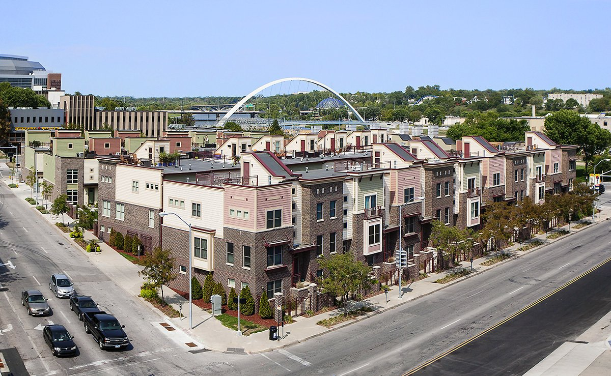 The Riverwalk Brownstones were the second phase of a very successful urban infill project.  Photo 3 of 4 in Des Moines Brownstones are a 'Walker's Paradise' for Young Professionals