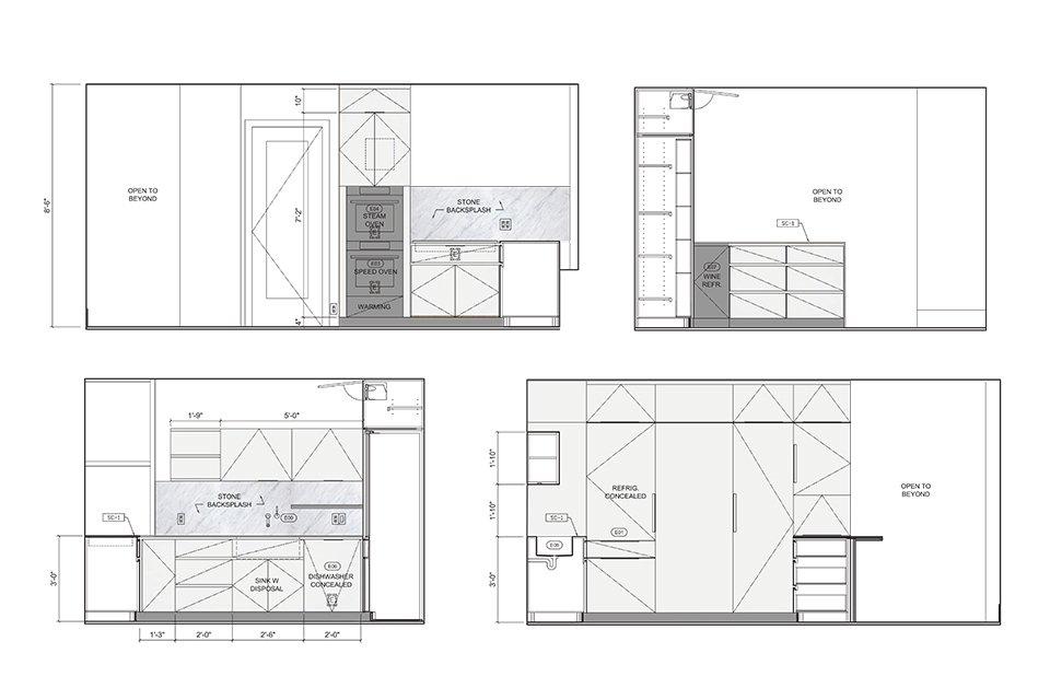 Kitchen Elevations  Prewar Modern Upgrade by kane architecture and urban design