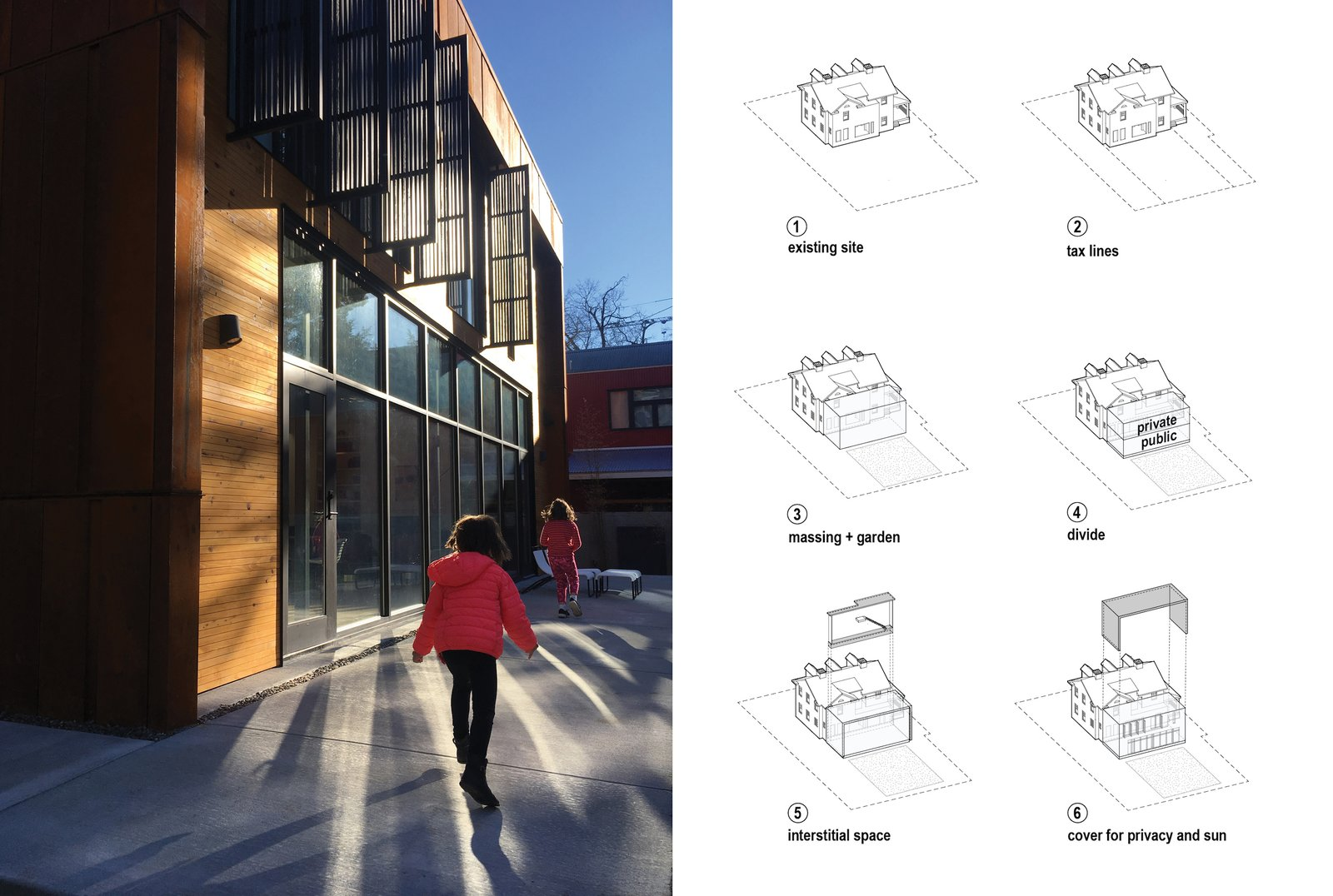 """Exterior, Metal Siding Material, Metal Roof Material, House Building Type, and Flat RoofLine Left: Louvered """"fins"""" keep the sun's glare out of the master bedroom upstairs. Right: Diagram demonstrating the sectional opportunity between old and new.  Hillcrest House Addition: An Innovative Approach to Old + New"""