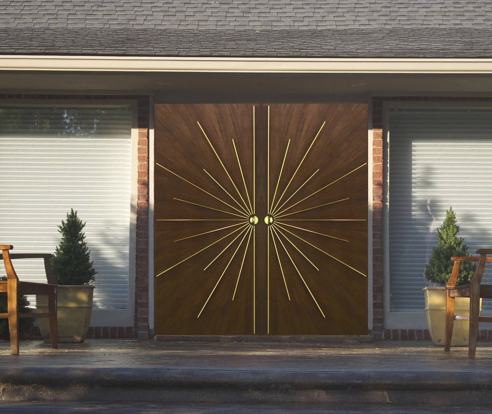 "Our door transform entryways into works of art.   Search ""entryway"" from Radial Walnut Door"