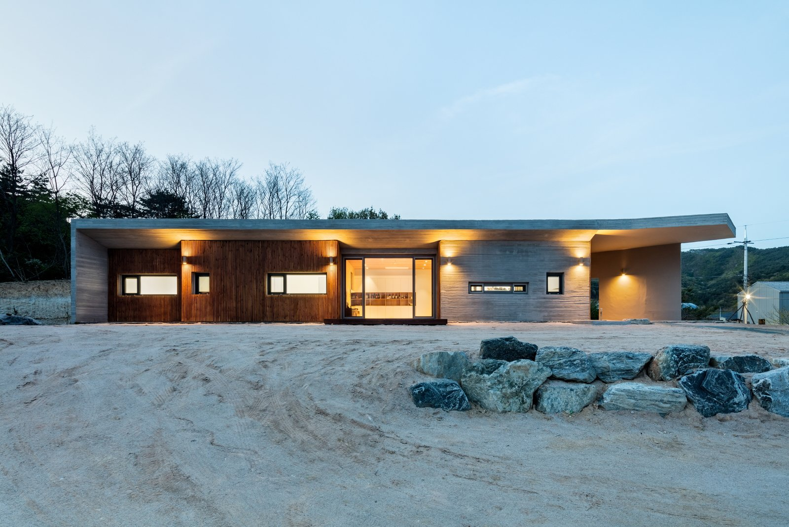 Outdoor, Concrete Patio, Porch, Deck, Front Yard, and Wood Patio, Porch, Deck front view  Apple Farm House by 2m2 architects