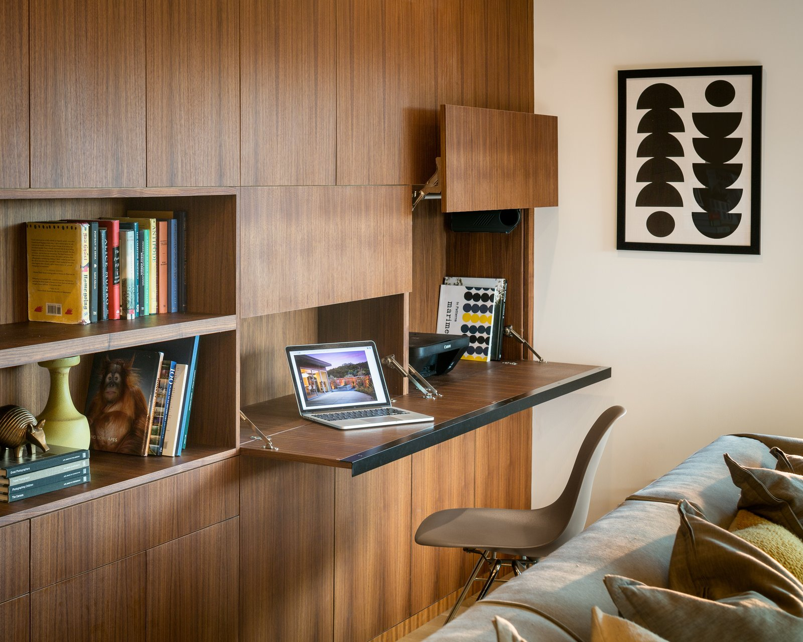 walnut shelving and flip-down desk  Marin Midcentury by building Lab