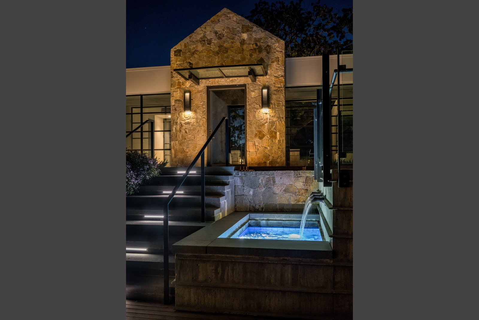 Outdoor, Back Yard, Hardscapes, and Landscape Lighting Elegant lighted water feature  Hilltop Haven by Randy Thueme Design