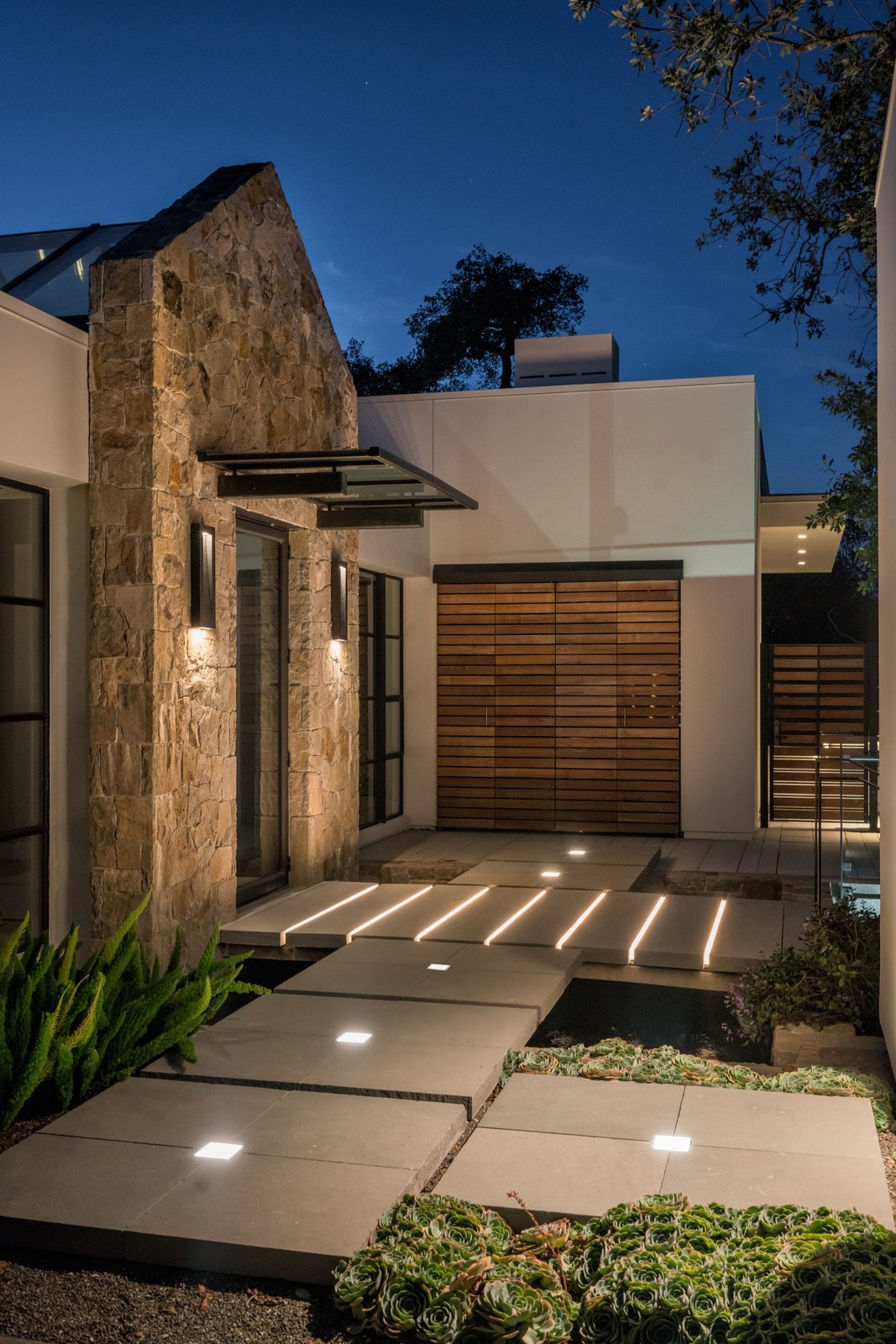 Outdoor, Landscape, Concrete, Horizontal, Wood, Hardscapes, Shrubs, Garden, and Walkways Innovative path lighting  Best Outdoor Wood Landscape Photos from Hilltop Haven