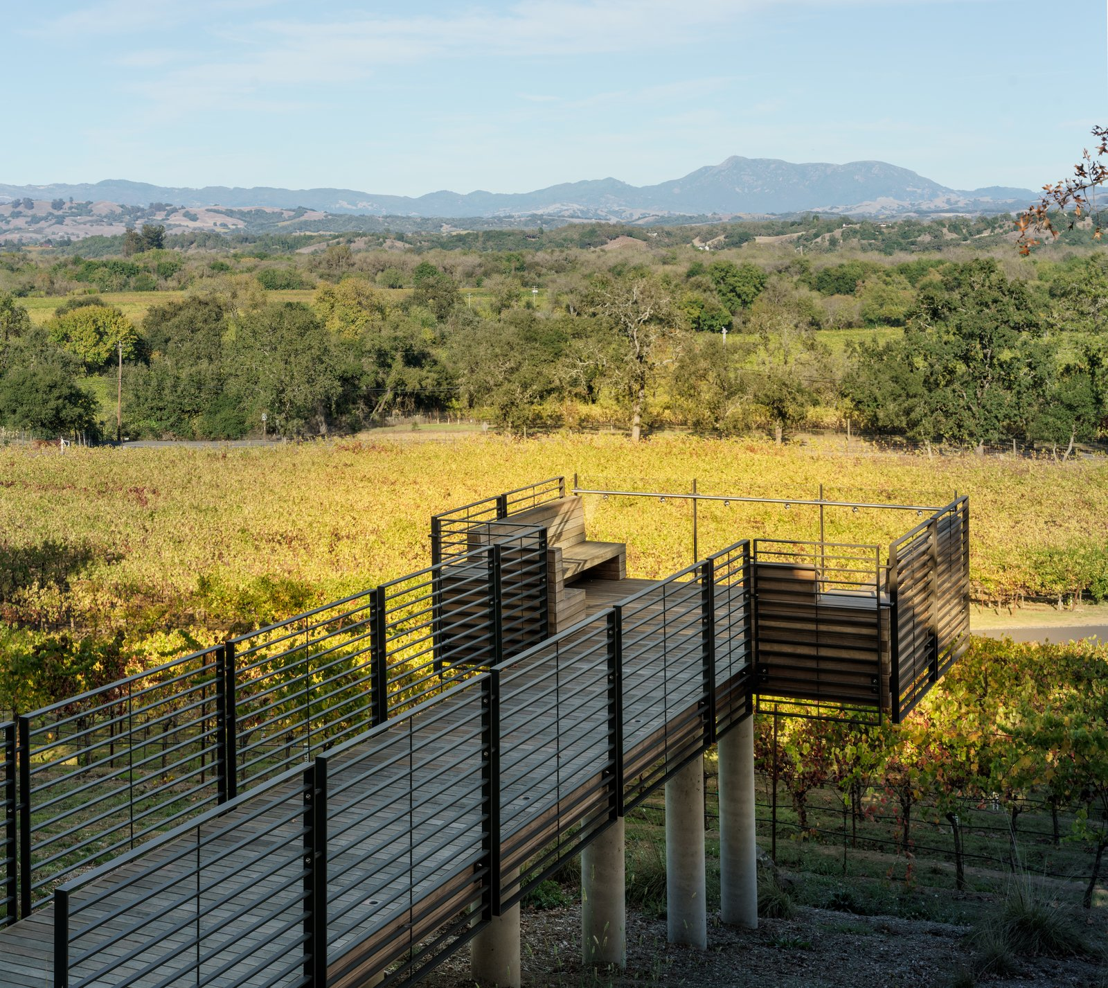 Outdoor, Metal Fences, Wall, Wood Patio, Porch, Deck, Trees, Walkways, Shrubs, Gardens, and Decking Patio, Porch, Deck The belvedere vantage point to enjoy the vineyards  Hilltop Haven by Randy Thueme Design