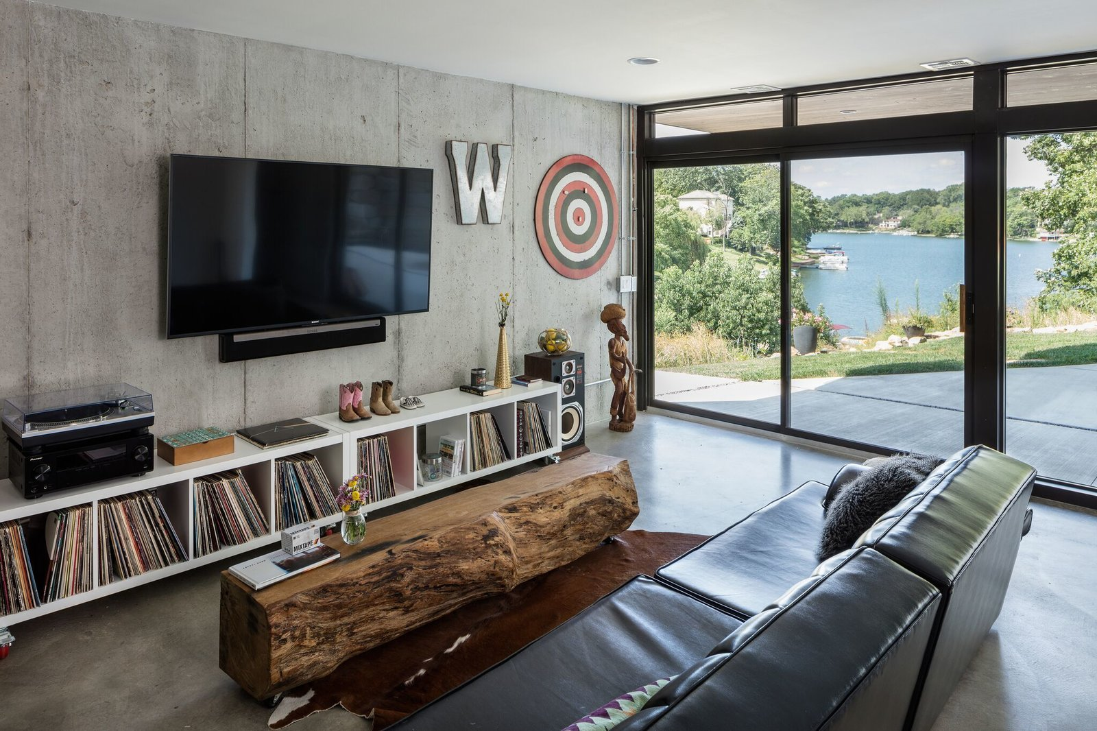 Living Room And Concrete Floor With Lake Views Photo 2 Of 11 In Modern