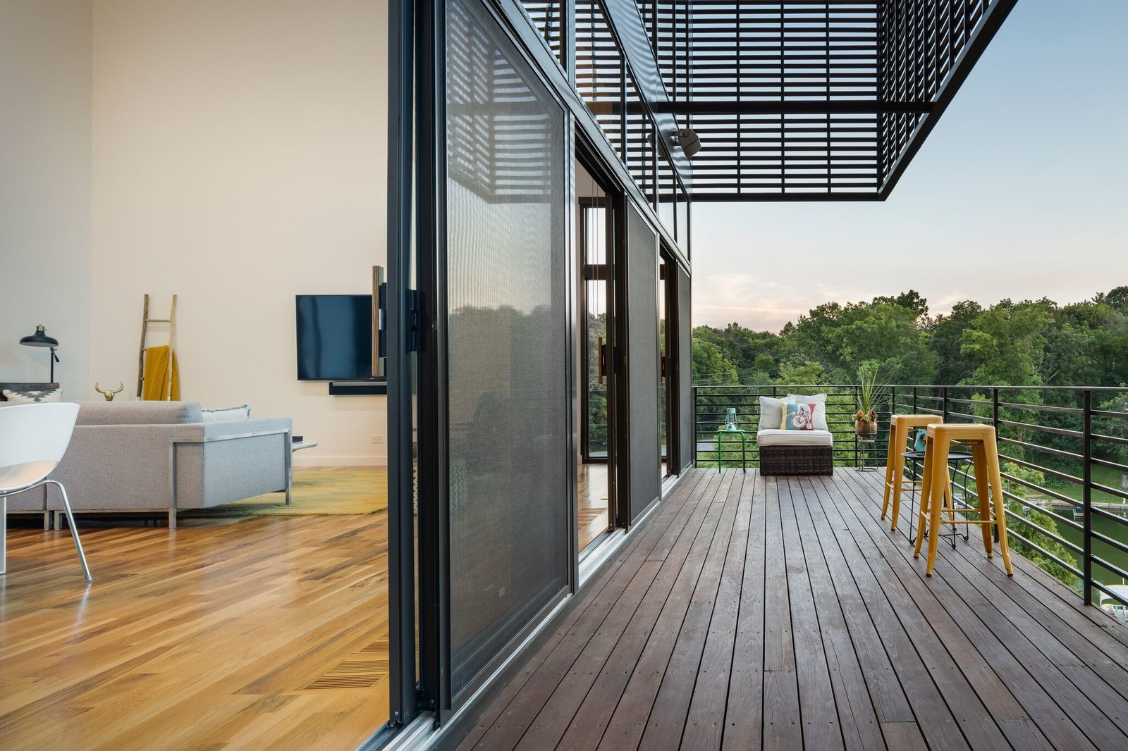Outdoor Living space opens to the deck  Modern Lodge