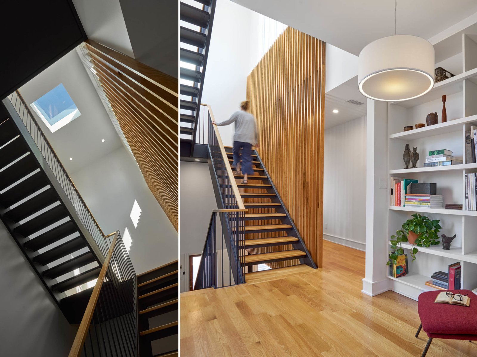 Staircase, Wood Tread, Metal Tread, Wood Railing, and Metal Railing Reading nook + Stairwell  The Historic Ely Building