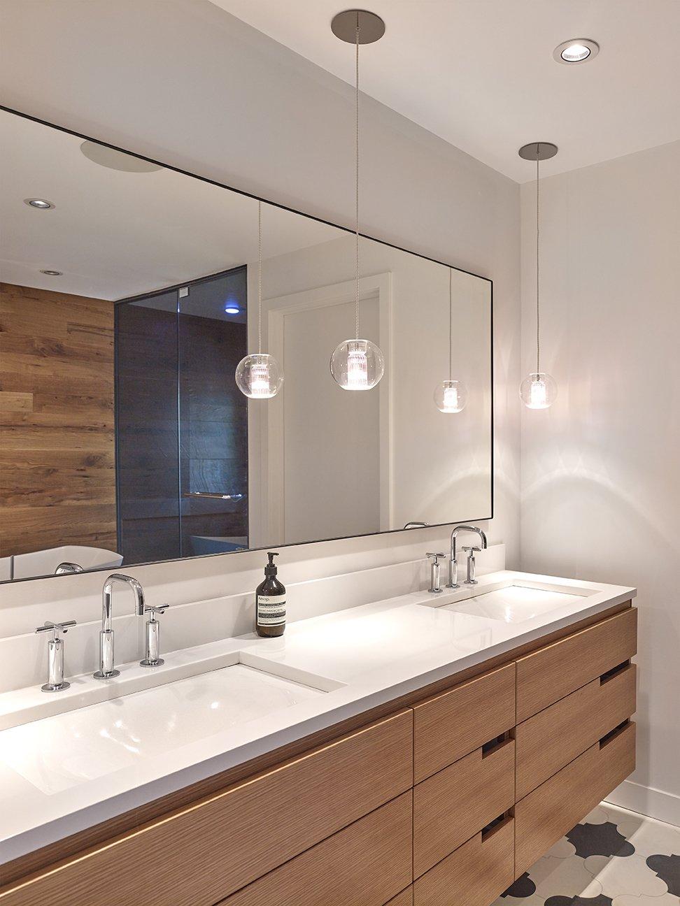 Bath Room, Pendant Lighting, Freestanding Tub, Ceiling Lighting, Cement Tile Floor, Enclosed Shower, Two Piece Toilet, Engineered Quartz Counter, and Undermount Sink Master Bath  Crestwood Re-Model by Mindy Gudzinski Design