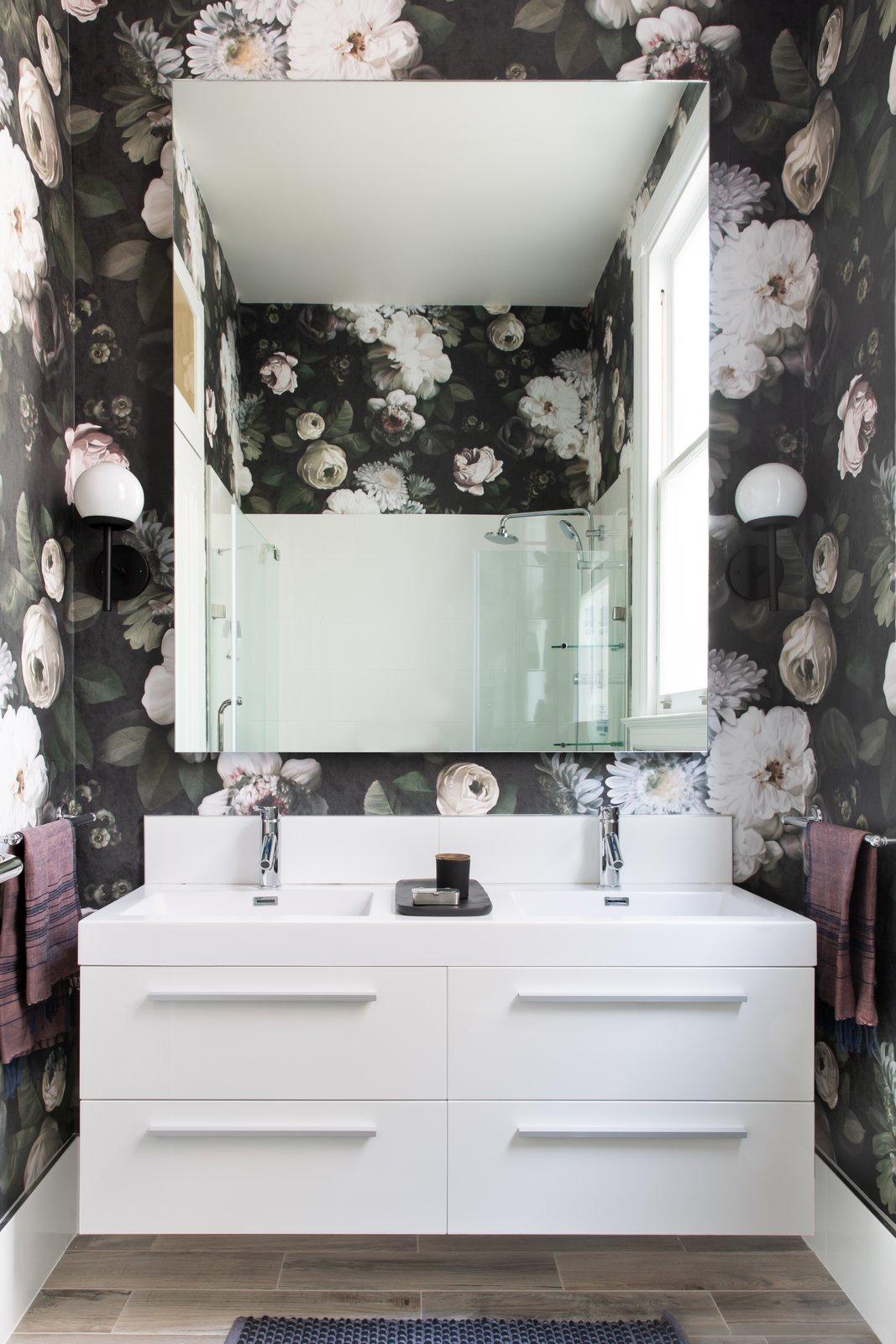 Bath Room, Wall Mount Sink, Ceramic Tile Floor, and Wall Lighting Powder Room  Moody Mission Victorian by Regan Baker Design