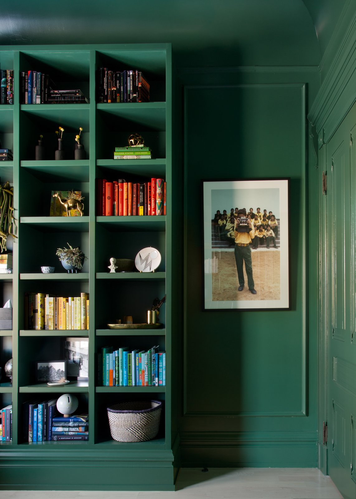 Office, Study Room Type, Storage, Light Hardwood Floor, Library Room Type, Bookcase, and Shelves Office  Moody Mission Victorian by Regan Baker Design
