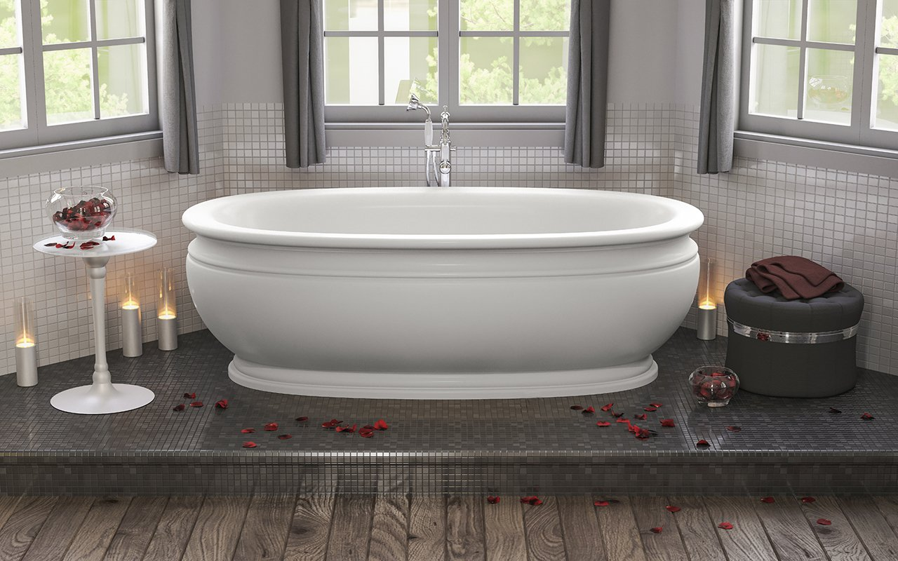 Olympian by Savio Vintage bathtub's timeless blend of romantic styling and vintage inspired design are right at home in traditional as well as contemporary bathroom design schemes. Crafted from Aquatica's state-of-the-art AquateX™ solid surface material, Olympian's unique sculpted appeal includes its platform base and classically ribbed plinth and rim detailing – found in original stonework. Olympian exudes a refined elegance with its historical ambience and soft features while its velvety matte finish and enveloping interior provide a comfortable bathing experience for one or two people.  Aquatica Olympian by Savio Vintage freestanding bathtub