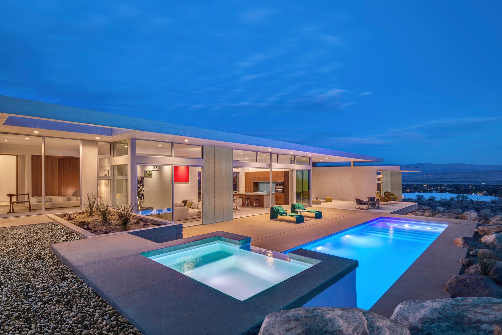 Clean, linear, timeless design expertly blends indoor and outdoor living.    Desert Palisades Chino Canyon