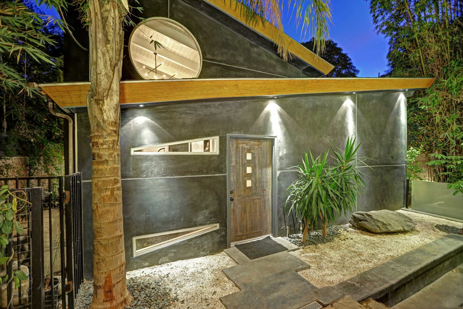 An architectural guest house features with full kitchen and bathroom.  Sleek West Hollywood Contemporary