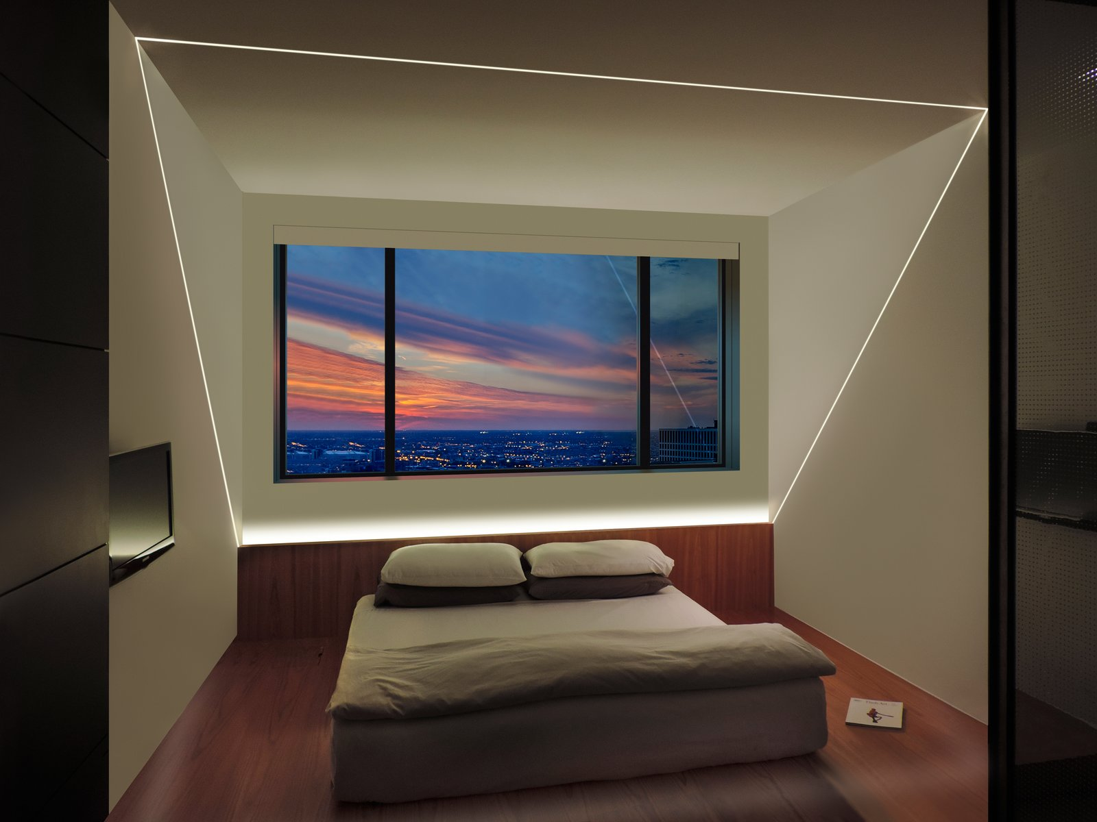 TruLine LED lighting is the centerpiece of this bedroom design  Bedroom