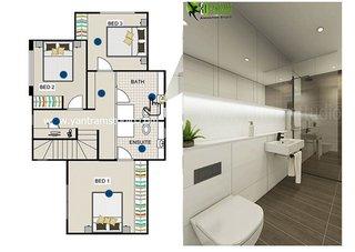 2D Bathroom Floor Plan Rendering by Yantram Architectural Design Studio.