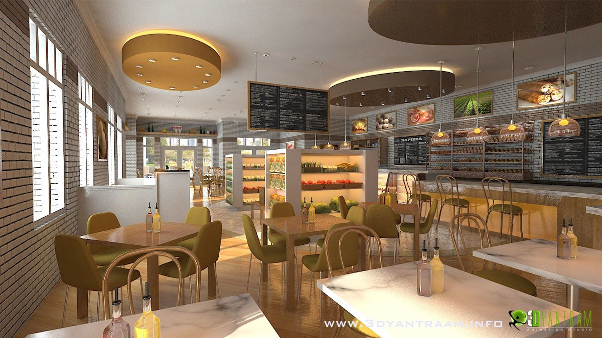 Interesting d cgi interior design for food court modern