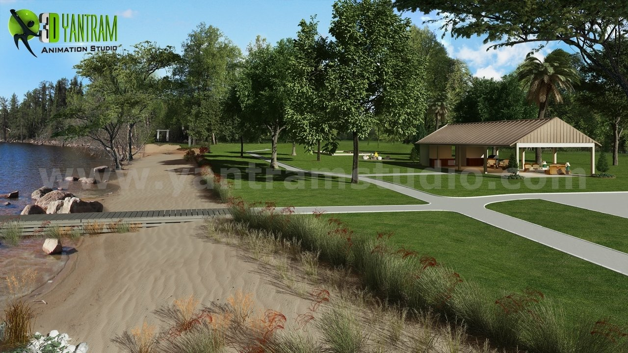 Recreation Area, River side Architecture Rendering Ideas by Yantram architectural visualization company Paris, France.  3D Exterior Perspective Rendering For a House In Los Angeles