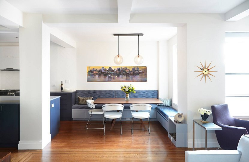 A modern breakfast nook boasts an abundance of natural light and a large, multi-functional space with built-in storage.  Photo 6 of 9 in 5 Main Ingredients For Cooking Up a Homey Kitchen Nook