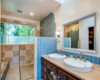 Modern home with Bath Room, Wood Counter, Open Shower, Stone Tile Wall, Vessel Sink, Ceiling Lighting, and Ceramic Tile Wall. New Master Bath Photo 7 of Massive Addition does not over-whelm