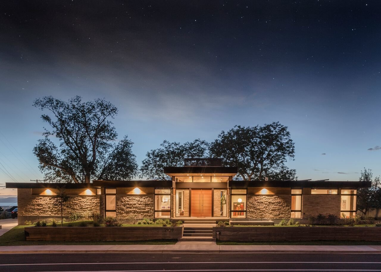 Street View - Dusk  Rock Canyon Residence by Imbue Design