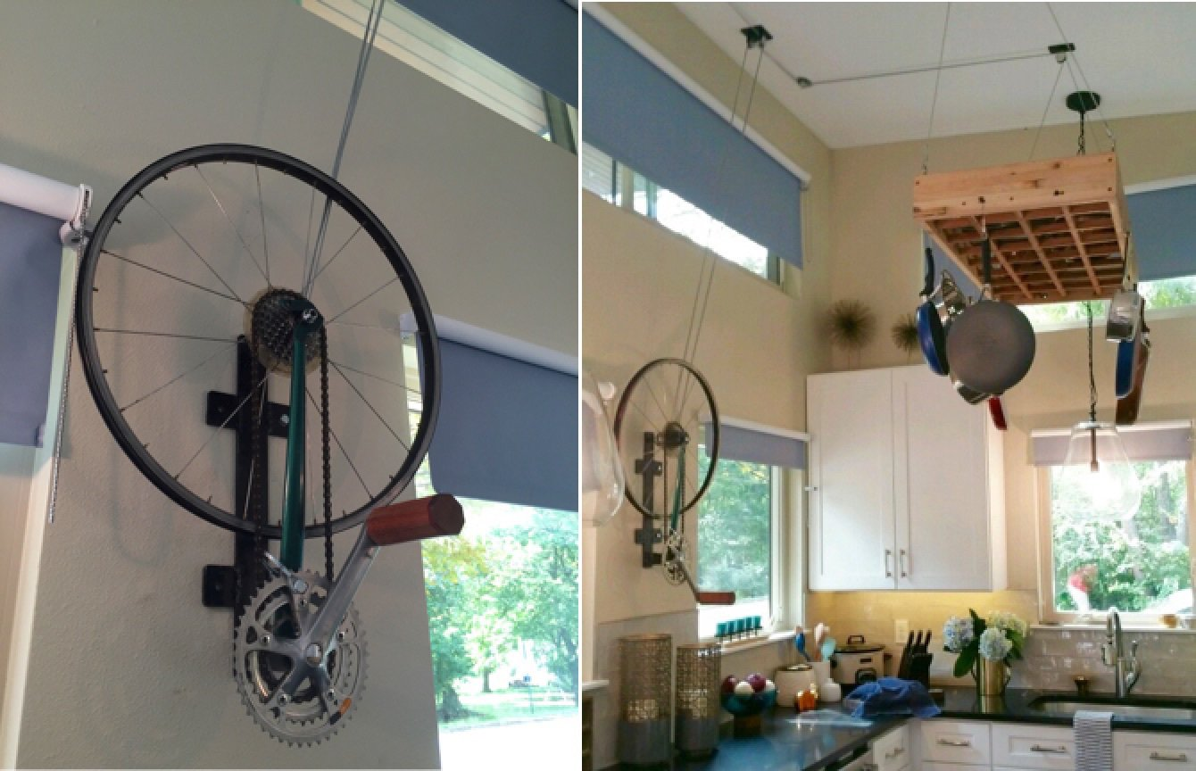 Kitchen and White Cabinet Pulley system for pot rack using a recycled bicycle wheel  Amplified Tiny House