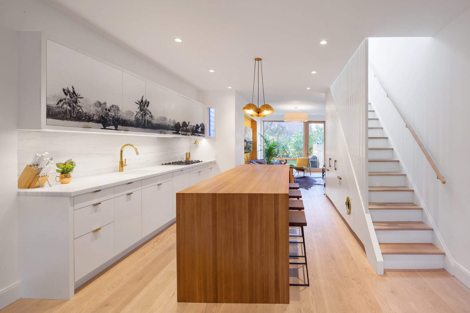 Kitchen, Marble, White, Light Hardwood, Ceiling, Stone Slab, Undermount, Marble, and Wood Kitchen  Best Kitchen Wood Marble Stone Slab Undermount Photos from Ritchie Rowhouse