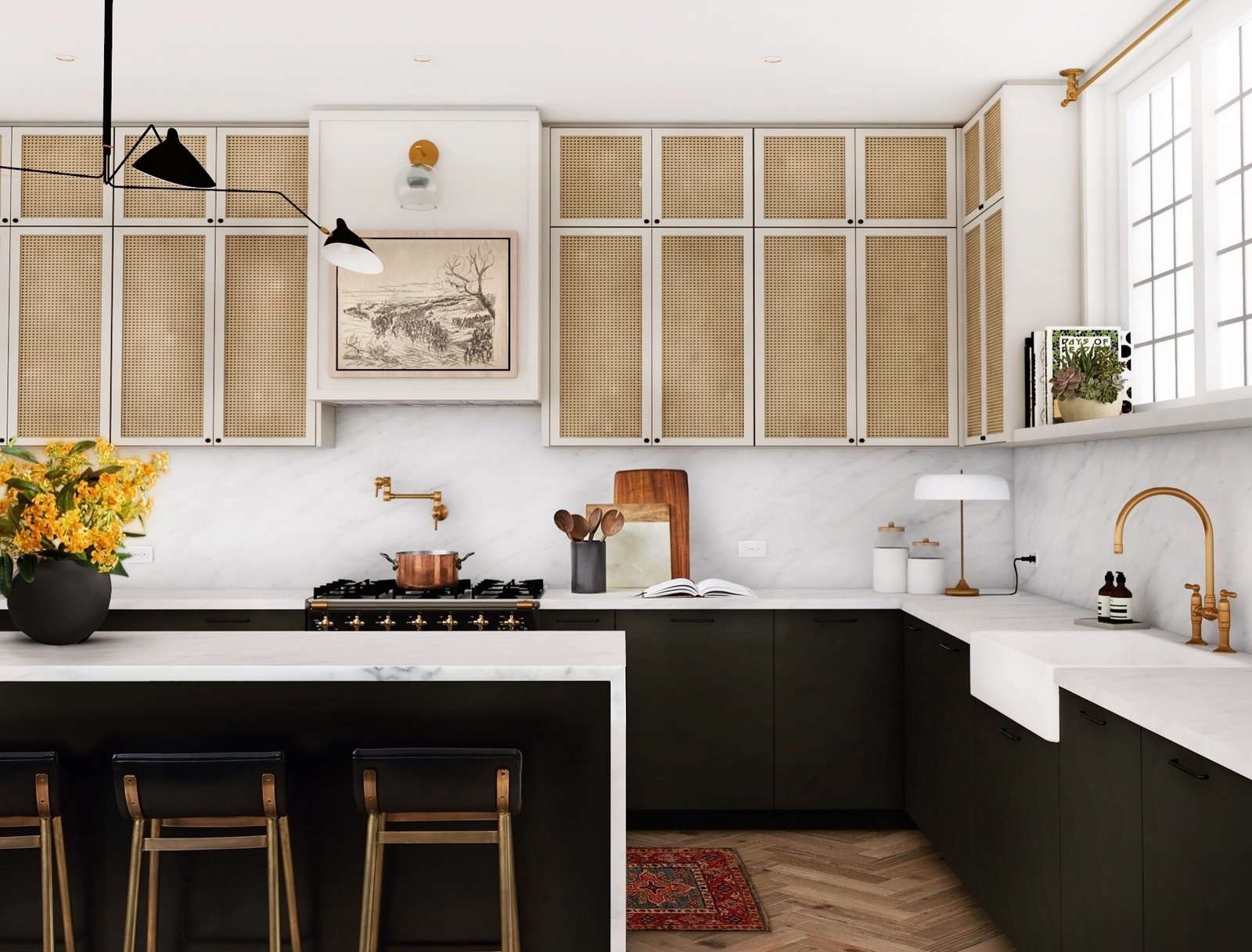 kitchen with marble counters and cane-front cabinets