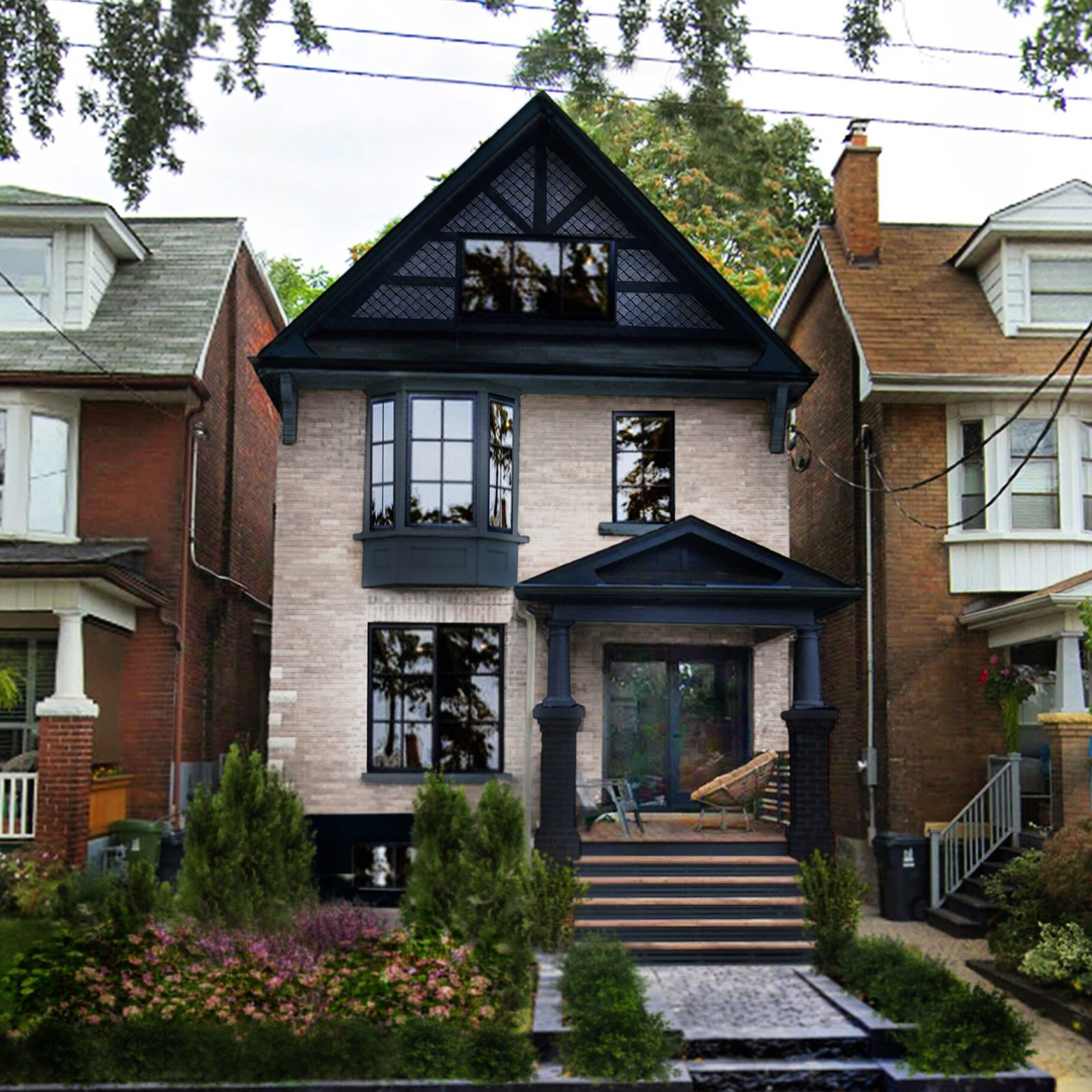 Exterior, Shingles Roof Material, House Building Type, Gable RoofLine, and Brick Siding Material The front facade is whitewashed pink brick with dark navy-grey trimwork.  Reimagined Edwardian by CAB Architects