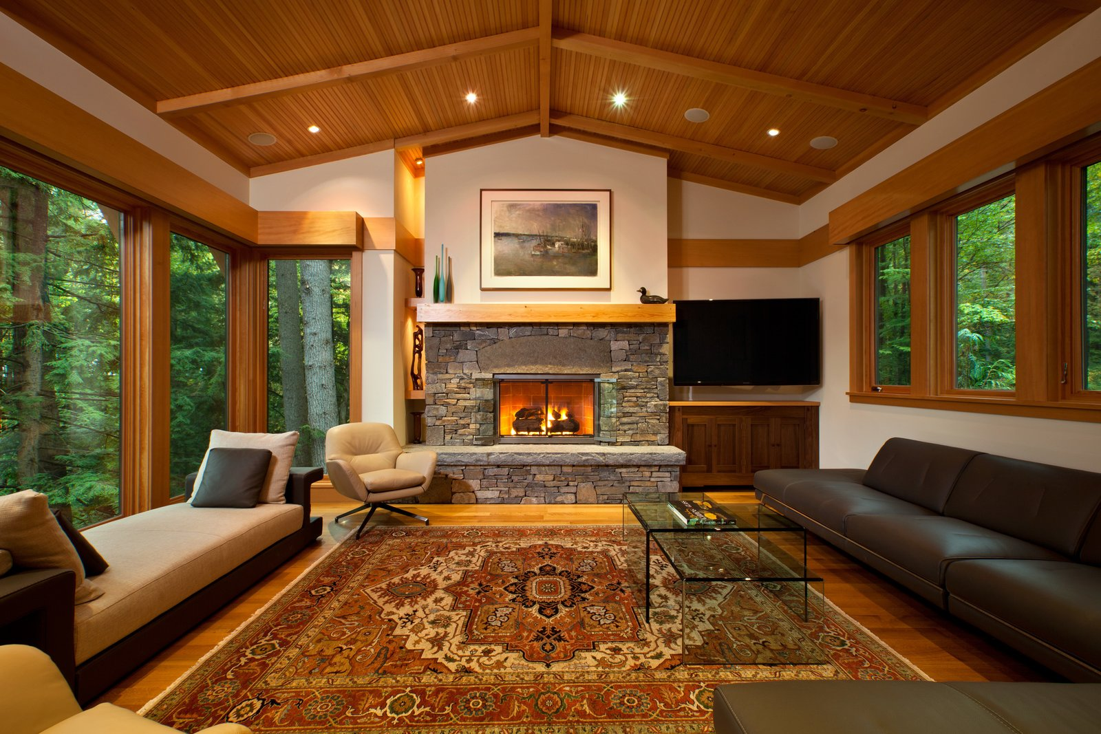 Welcoming living room  Fourth Lake Summer House by Phinney Design Group