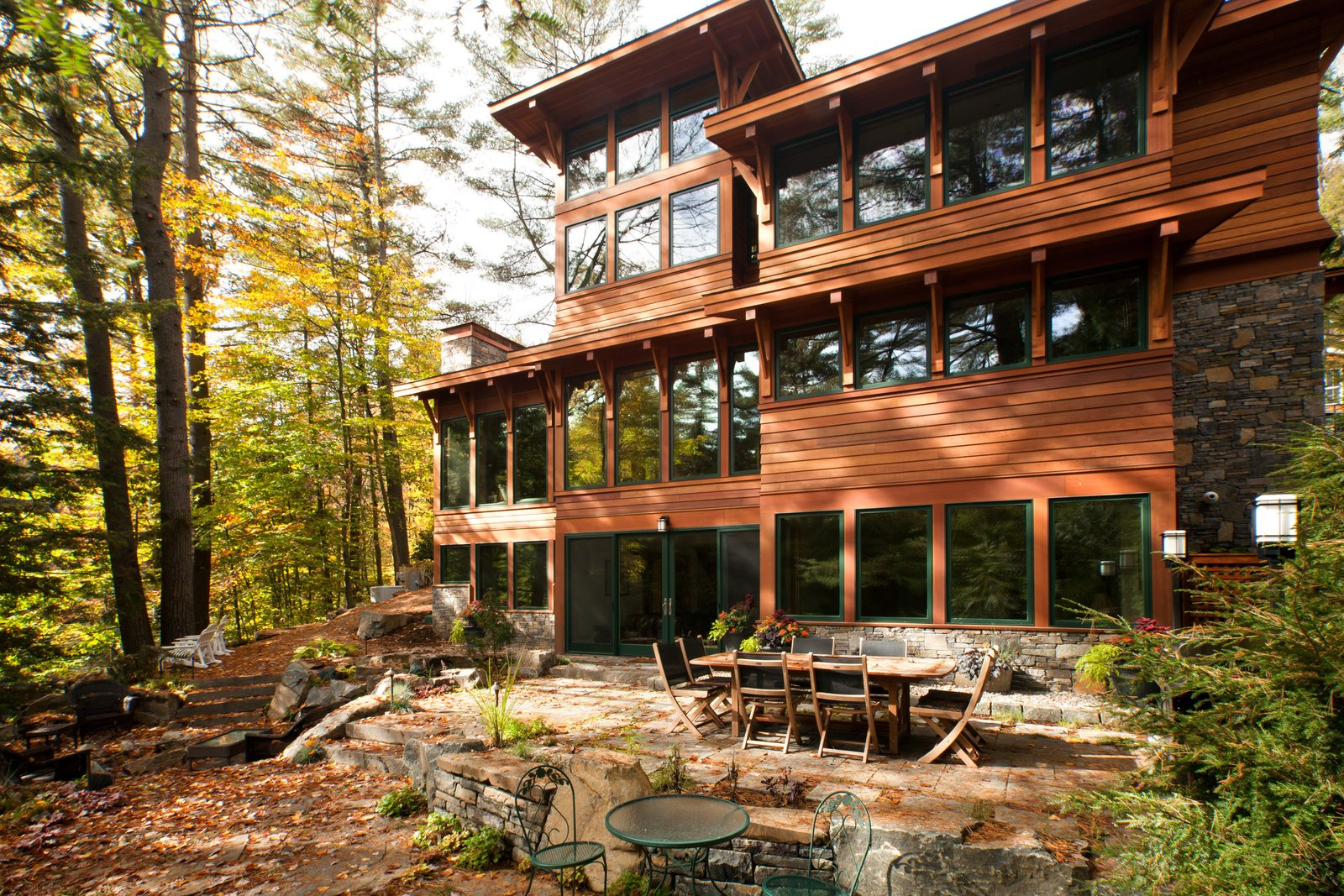 Exterior of house, Lake Luzerne, NY  Fourth Lake Summer House by Phinney Design Group