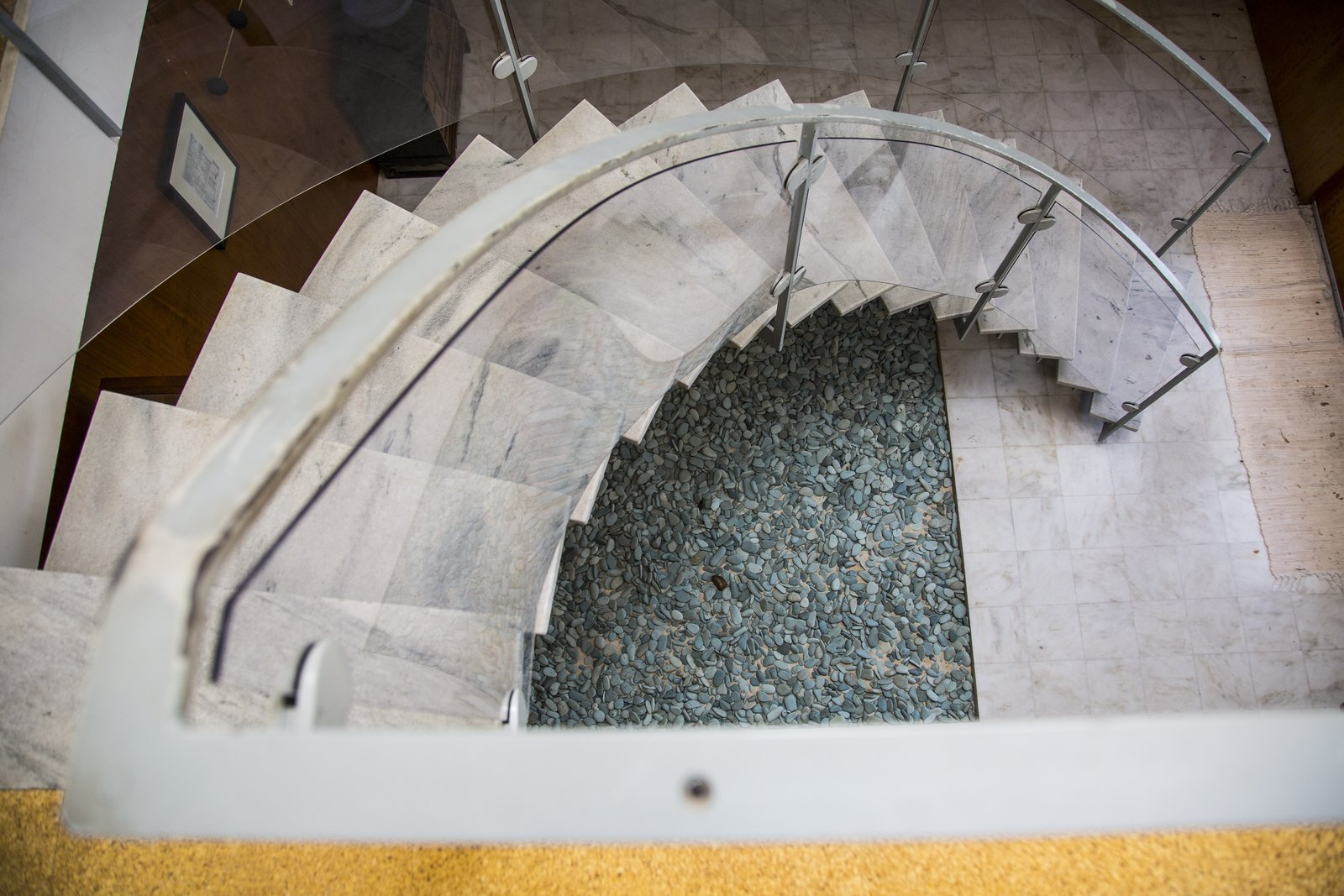 Staircase, Metal Railing, Glass Railing, and Stone Tread Staircase  Hiss Studio