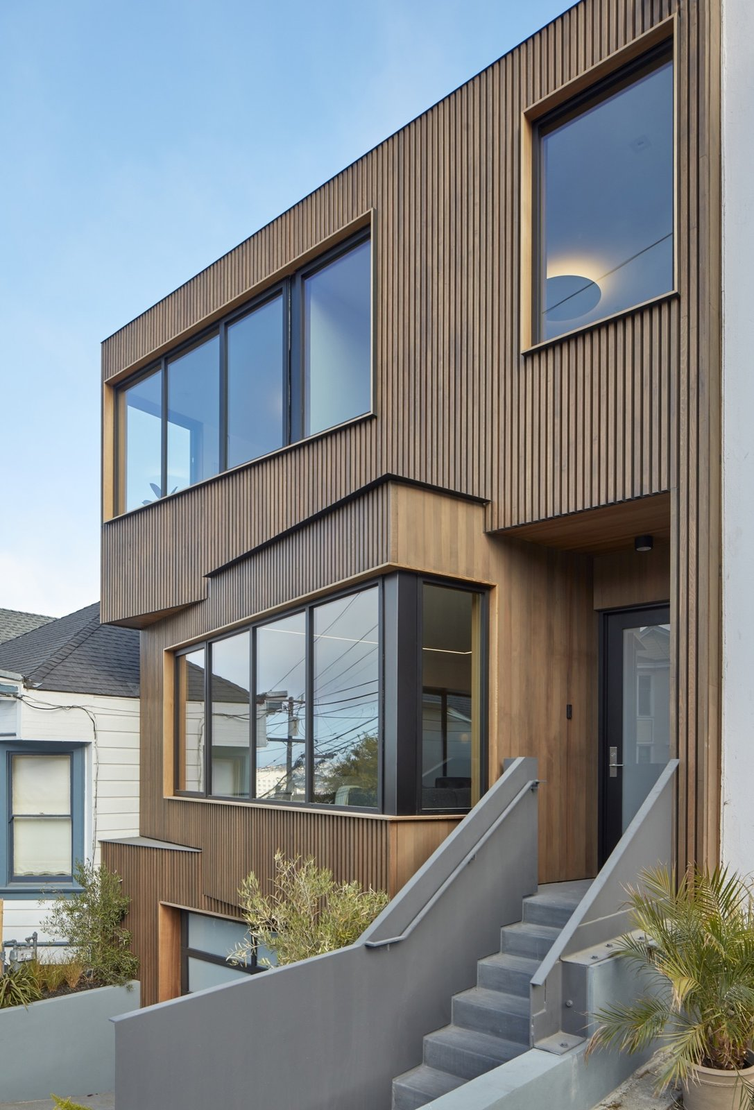Exterior, Flat RoofLine, Wood Siding Material, and House Building Type View of front entrance from sdiewalk.  Noe Valley House by IwamotoScott Architecture