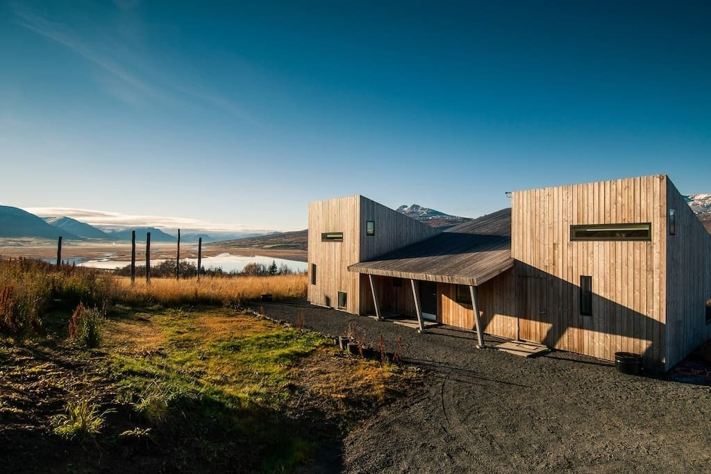 In Vaðlaheiði near Akureyri, the capital of north Iceland, these three strikingly modern cabins place you in the midst of nature where you can watch the Northern Lights in the winter and the midnight sun in summer.  Photo 2 of 10 in Get Back to Basics by Staying at One of These Modern Cabins