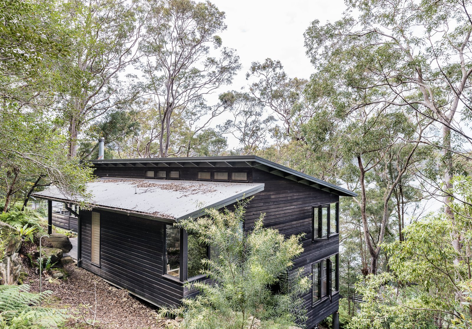 Exterior, Wood Siding Material, House Building Type, and Shed RoofLine North of Sydney on Dangar Island is a modern Australian vacation rental that's positioned to take full advantage of views of the Hawkesbury River and gorgeous native Angophora trees.  Photo 1 of 13 in Stay in a Riverside Vacation Home That Embraces the Australian Bush
