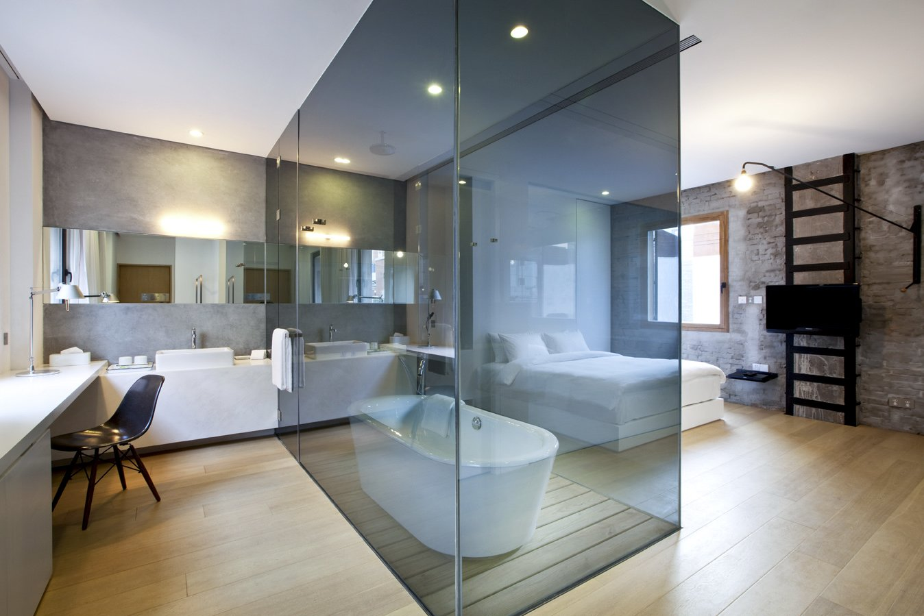 Bath Room, Freestanding Tub, and Soaking Tub The interiors at Waterhouse at South Bund in Shanghai, China  Photo 12 of 24 in 12 Modern Hotels in Historic Buildings Around the World