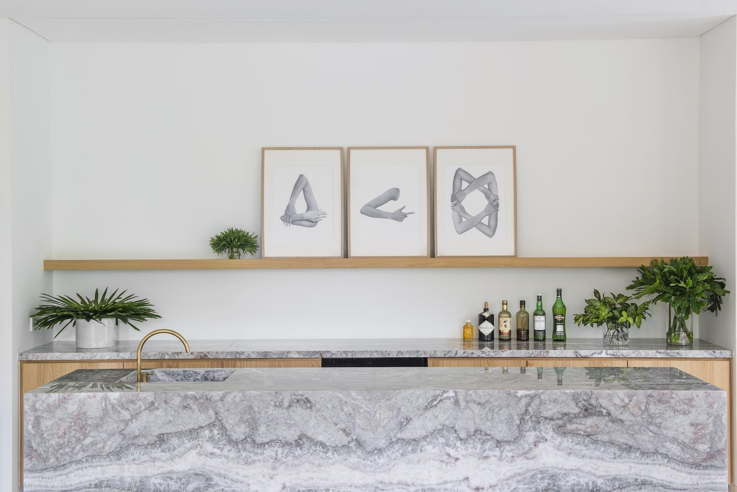 Wet bar in Takenouchi Webb's Apartment G  Photo 6 of 6 in 6 Home Wet Bars That Will Inspire You to Up Your Entertaining Game from How to Design a Kitchen That's Ideal For Entertaining—and Shop Our Picks