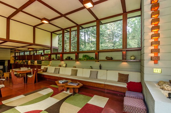 Each home that Wright designed was unique to its circumstances, and the Penfield House was no exception. Set on 30 acres in Lake County, Ohio, the 1950 home has taller ceilings and an elongated profile to accommodate the client Louis Penfield—who was six foot eight.