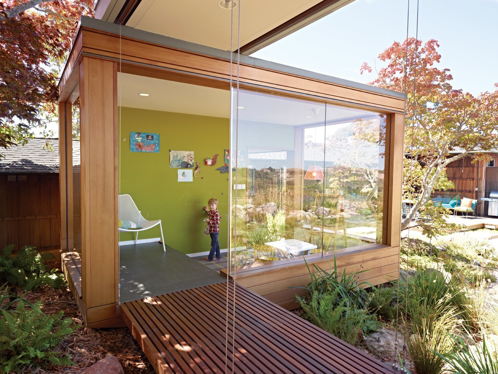 detached children's playroom with glass window walls