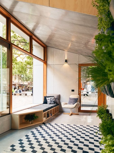 The world's first carbon-positive prefab, by Australian firm Archiblox has designed the world's first carbon-positive prefab with interiors of sustainably sourced plywood with formaldehyde- and VOC-free finishes.