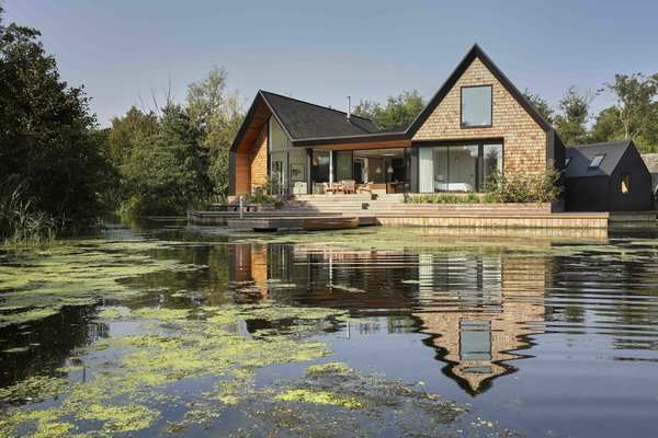 this riba award winning house by platform 5 architects has three shingle clad pitch roof bays that are influenced by scandinavian lake houses and echoes the form of the local boat sheds - 43+ Small Contemporary House Design Uk  Images