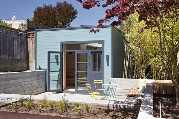 """An old unused garage in this San Francisco family home is turned into a """"box suffused with light"""" just a short distance from the main house, where family members can escape to meditate, relax or get creative."""