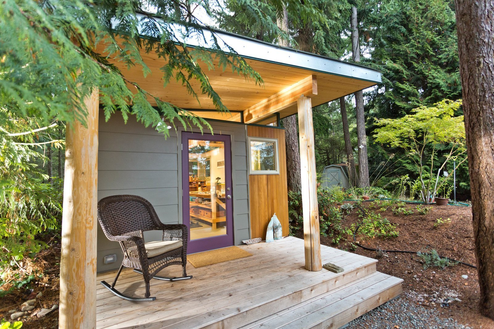 Shed & Studio, Living Space Room Type, and Living Room Room Type This prefabricated studio shed by Modern-Shed Inc. in Vahon Island, Washington, serves as a peaceful creative workspace for a professional artist.  Photo 5 of 9 in 8 Tiny Sheds and Studios Used as Home Offices or Creative Retreats