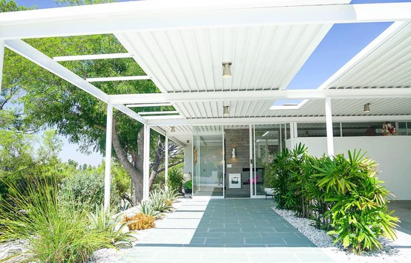 """In 2014, Nikolaus Kraemer and Heather van Haaften, a couple that's passionate about midcentury-modern architecture and furniture, purchased the Scott House, originally designed in 1954 by Pierre Koenig. They sensitively restored the iconic house in a way that would reflect the property's roots. """"We knew of Koenig's work when we first saw his iconic Stahl House. Heather and I were intrigued by his accurate rationale of steel being not just something you can 'put up and take down,' but a way of life,"""" says Nikolaus, who compares their serendipitous acquisition to """"owning an original Warhol, Lichtenstein, or Ruscha."""""""