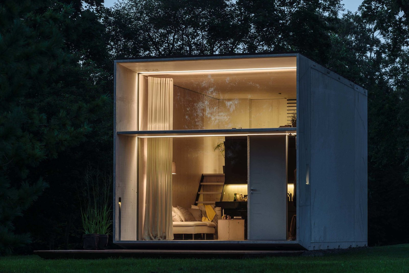"""Exterior, Flat RoofLine, Metal Siding Material, Metal Roof Material, Prefab Building Type, and Tiny Home Building Type Estonian design collective Kodasema launched this 269-square-foot micro-home, which can be built in less than a day. The structure, which does not require foundations, can be moved on the back of a lorry, and aims to encourage a self-build culture and better use of empty plots of land in the UK """"The simple yet effective design could help alleviate the pressures of the housing crisis on local authorities, providing temporary homes or workspaces on empty sites,  Photo 3 of 8 in 7 Modern Modular and Prefabricated Homes in the UK"""