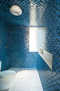In this rehabilitated 19th century Brooklyn duplex, architect and owner Gil DeSimio painstakingly covered the walls of his upper-level bathroom with these beautiful glossy blue fish scale tiles.