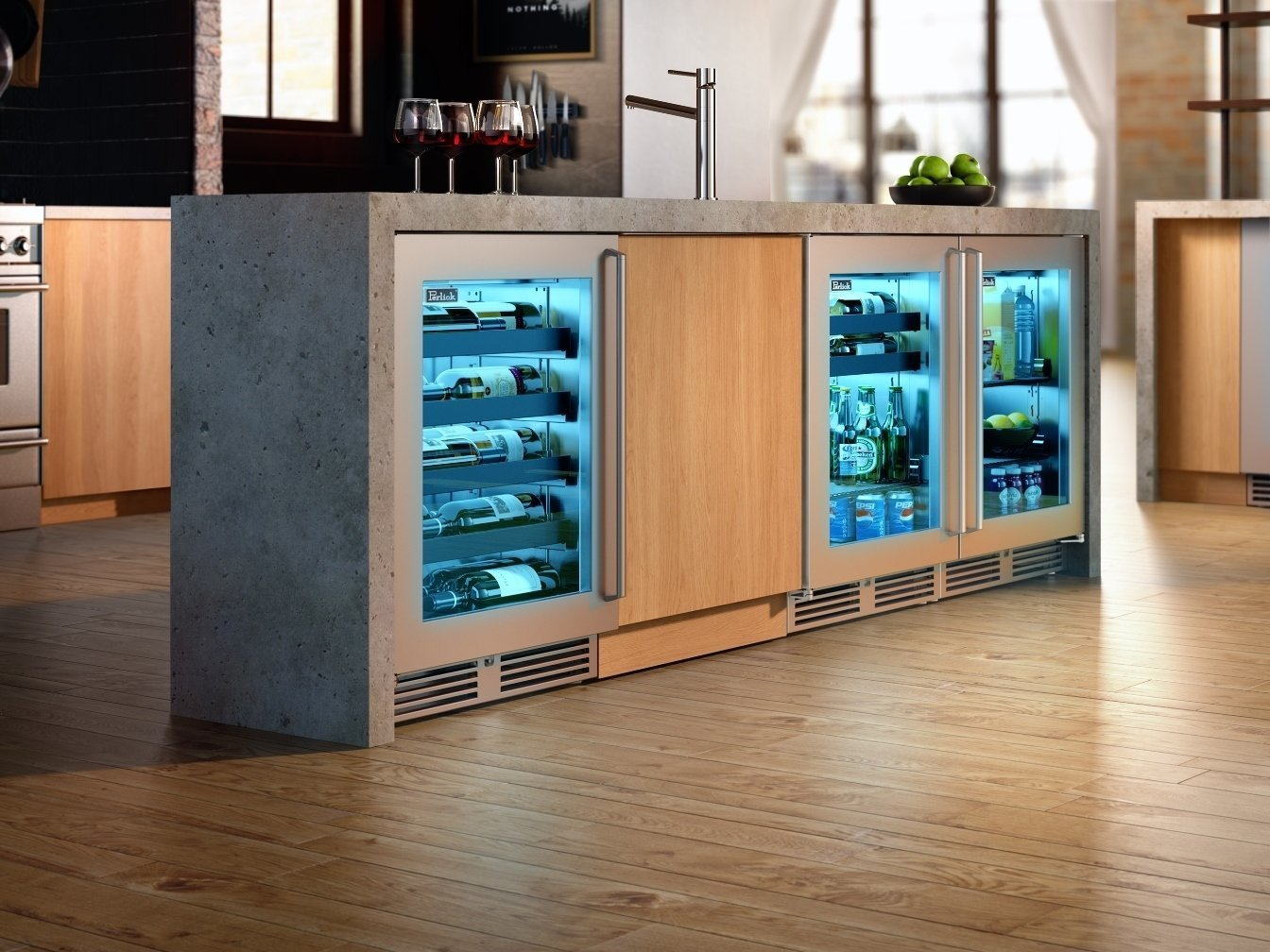 Kitchen, Wine Cooler, Wood Cabinet, Medium Hardwood Floor, and Concrete Counter Perlick wine cooler  Photo 7 of 7 in 7 Design Tips For a Chef-Worthy Kitchen