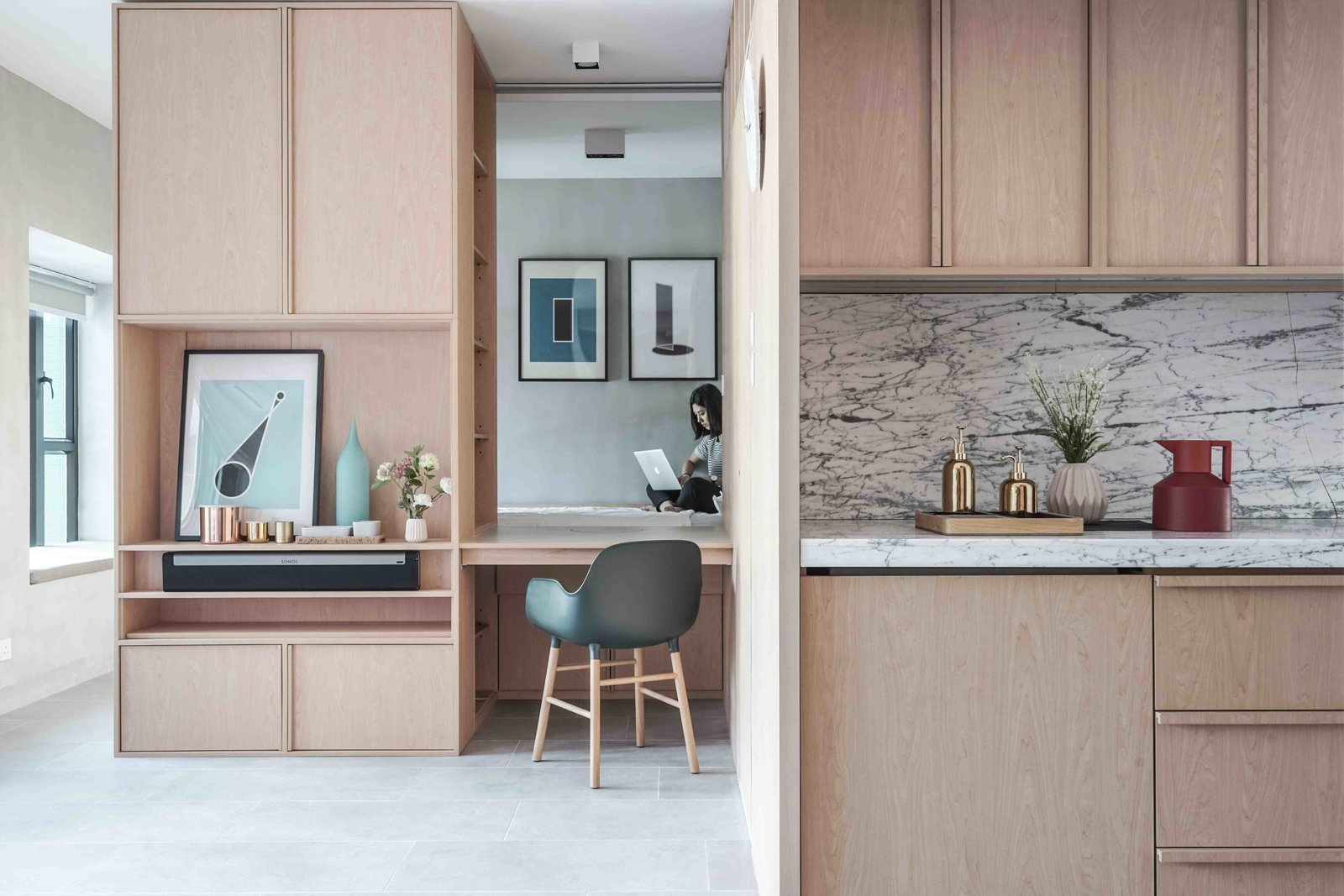 Office, Desk, Storage, Chair, and Shelves Inspired by modern Japanese minimalism, Hong Kong practice JAAK demolished the walls of this two-bedroom apartment and remodelled it into a studio with an  Best Photos from 10 Zen Homes That Champion Japanese Design